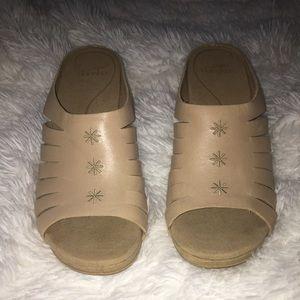 Dansko open toe tan heels